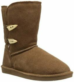 "BEARPAW ABIGAIL 8"" 682W SUEDE SHEEPSKIN FUR LINED 2 BUTTON W"