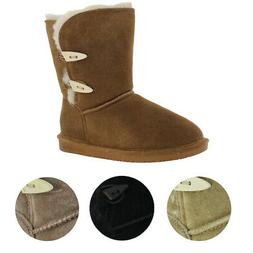 Bearpaw Abigail Women's Suede Toggle Sheepskin Winter Boots