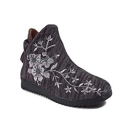 Kyle Walsh Pa Women Ankle Booties Round Toe Flat Heel Embroi