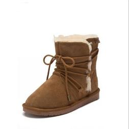 Boots 10 Minnetonka Ankle Suede Fur Shearling Lined Brown Wi