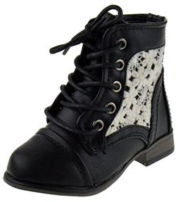 Forever Link Chapter 30KA Baby Girls Combat Lace up Boots Be