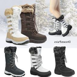 DREAM PARIS Women Waterproof Rubber Faux Fur Winter Warm Mid