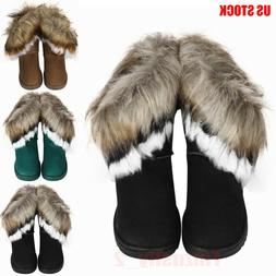 Fashion Winter Women Boots Flat Ankle Fur Lined Lady Warm Sn