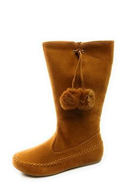 Forever-Link Women's Faux Suede Pom Pom Decor Mid-Calf Flat
