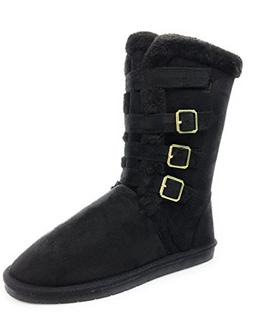 Forever-Link Women's Faux Suede Round-Toe Mid-Calf Flat Boot