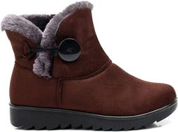 Fur Lined Womens Snow Boots Brown Winter Button Pull On Ankl