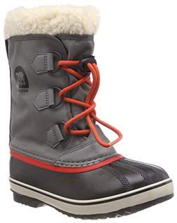 SOREL Girls' Yoot Pac Nylon Snow Boot, Quarry, sail red, 4 M
