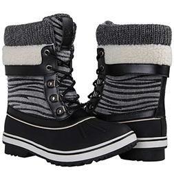 GLOBALWIN Women's Black Zebra Stripe Winter Snow Boots 7M US