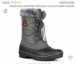 DREAM PAIRS Grey Thinsulate  Faux Fur Lined Winter Boot Size