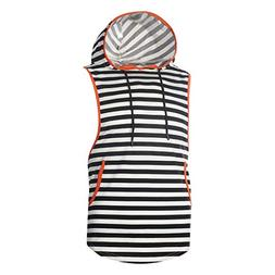 Sunhusing Men's Horizontal Stripe Print Sleeveless Hooded Ta