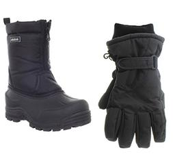 Northside Icicle Snow Boot, Black, 4 M US Big Kid with Match