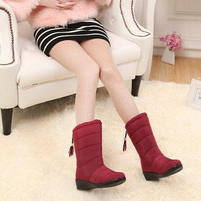 1 Pair Winter Boots Soft Warm Thicken Waterproof Solid Color Fashion