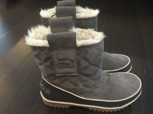 NWOB Womens Grey Suede Sorel Snow Winter Boots Sz 7 1/2