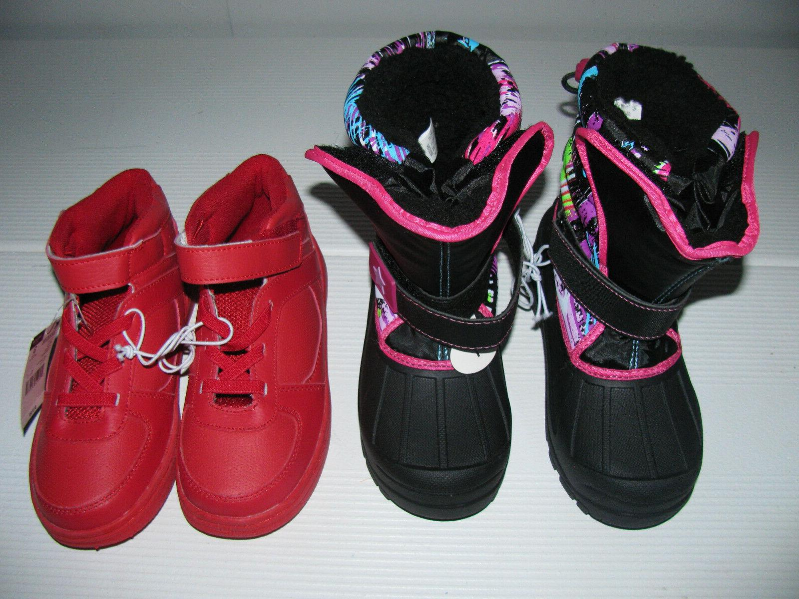 Two NEW Girls Winter Boots Size 13 & 1. Red w/ leather upper