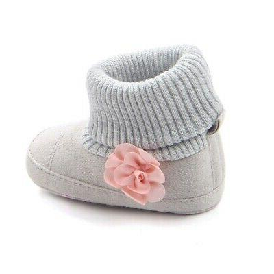 Baby Girl Warm Ankle Booties Infant Soft Soled Shoes