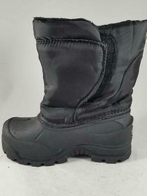 black kids winter boots insulated snow pull