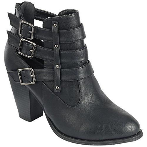 buckle stacked chunky heel almond