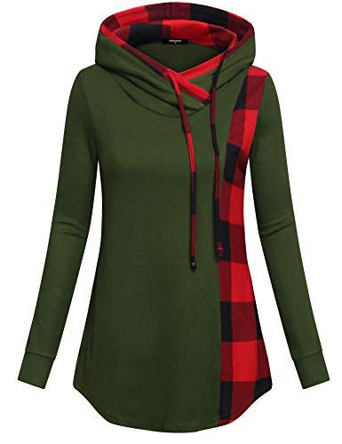 casual hoodies for women ladies plaid pullover