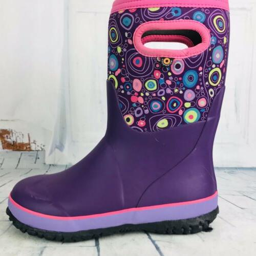 circle grasp colorful purple winter rain boots