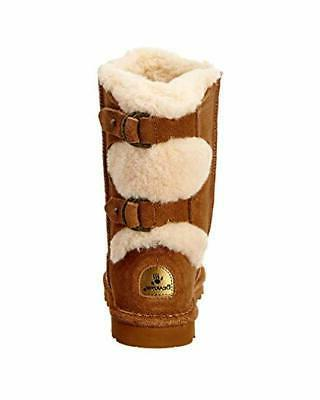 BEARPAW Brown Suede Lined Snow Boots