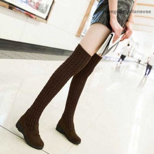 Fashion Over Knee Boots Winter Brown