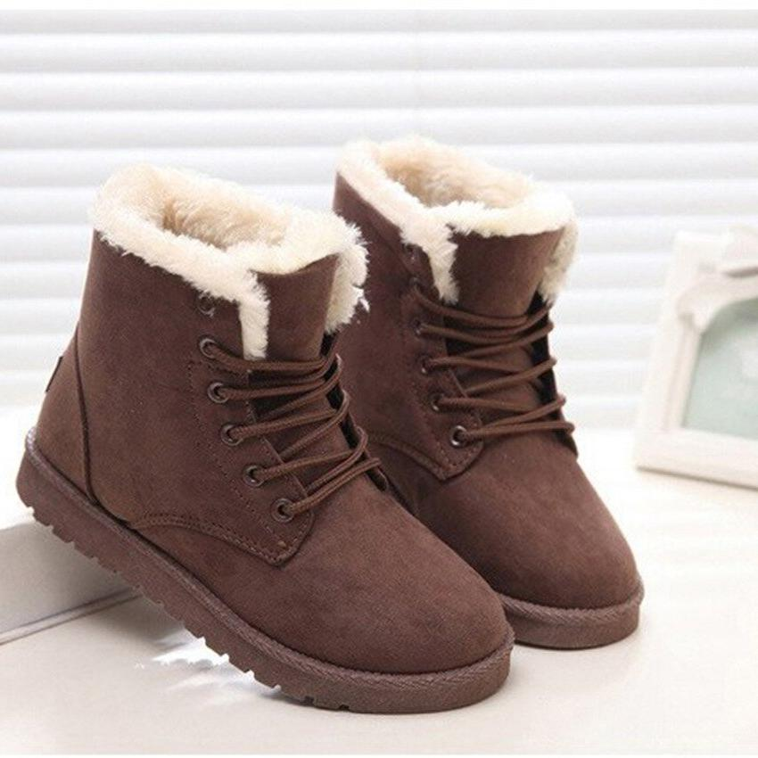 <font><b>Winter</b></font> Ankle <font><b>Boots</b></font> Female Lace Up Suede Insole Invierno 2019