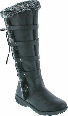 Forever Aura-42 Womens Back Lace Up Knee High Boots Winter B