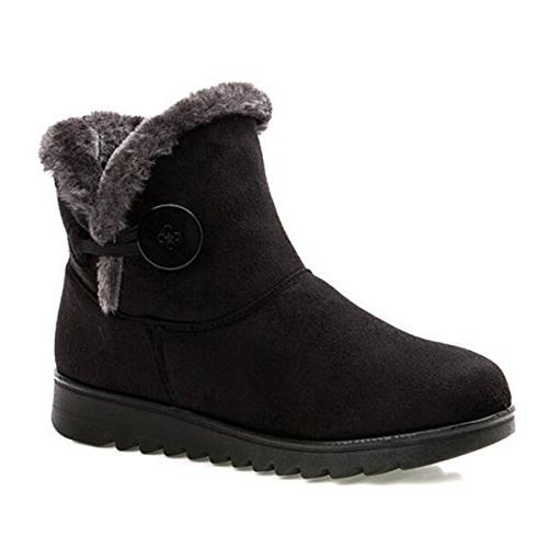 fur lined womens snow boots winter button