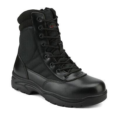 NORTIV 8 Men's Military Leather Motorcycle Combat Boots
