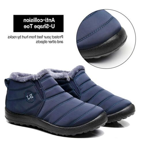 Mens Winter Boots Fur Lined On Waterproof Outdoor Shoes