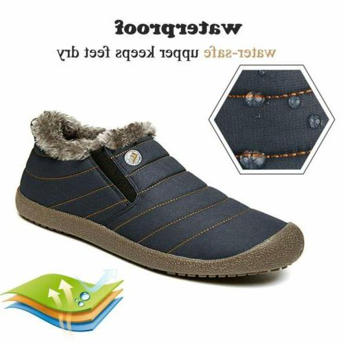 Mens Winter Boots Slippers Lined Outdoor Warm Shoes US