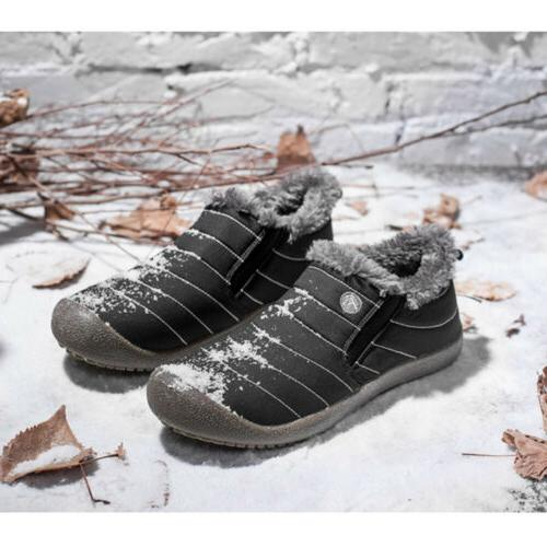Mens Snow Boots Slippers Fur Lined Outdoor Waterproof Warm US