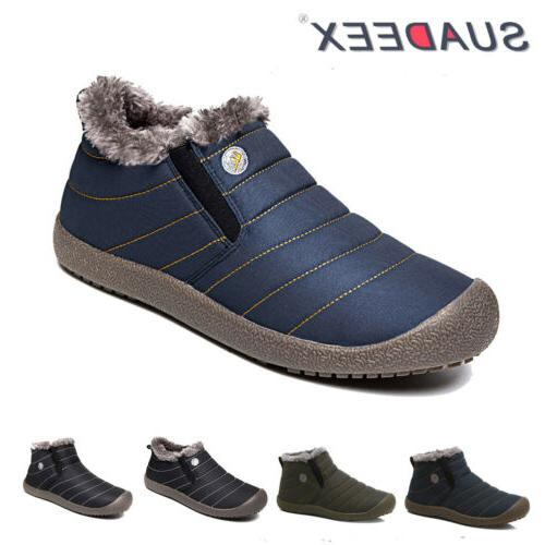 mens winter snow ankle boots slippers fur