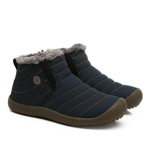 Mens Ankle Fur Lined Shoes Casual Cozy Outdoor Waterproof