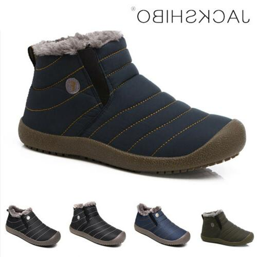 mens winter snow boots ankle fur lined