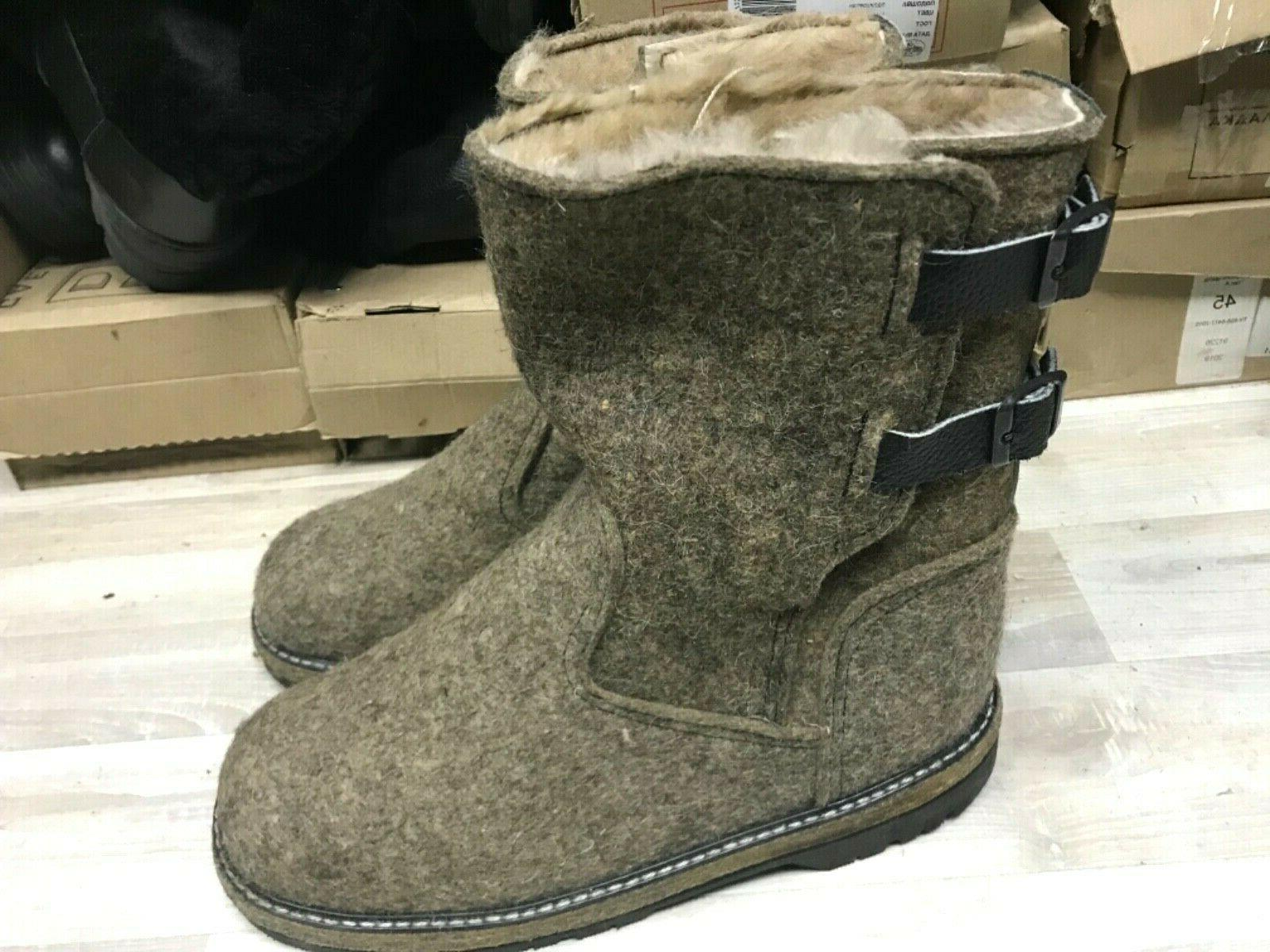 russian boots winter sheepskin fur wool felt