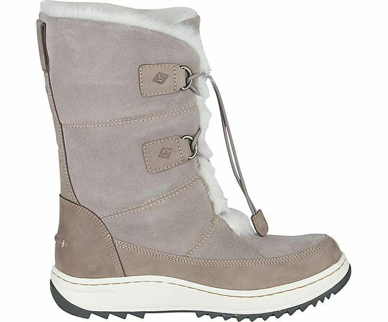Sperry Women's Powder Vibram Arctic Grip Boots Grey Suede, Size