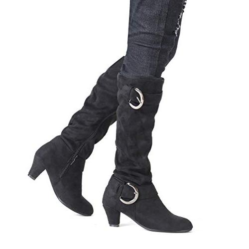 Susanny Suede Riding for High Strappy Botas Kitten Black B