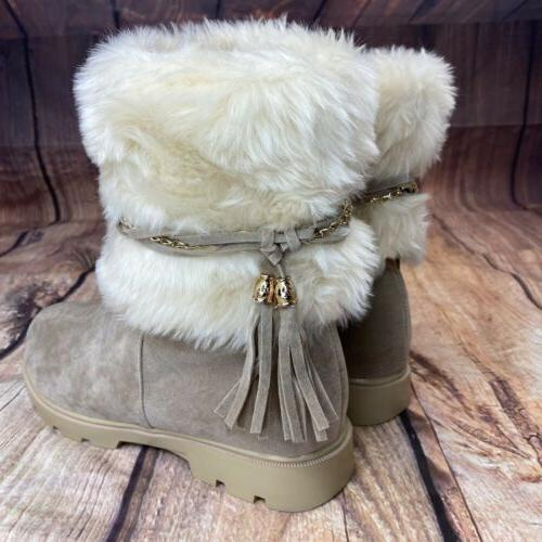 Susanny Winter Boots Size 10 Tassled Boots Beige - NEW