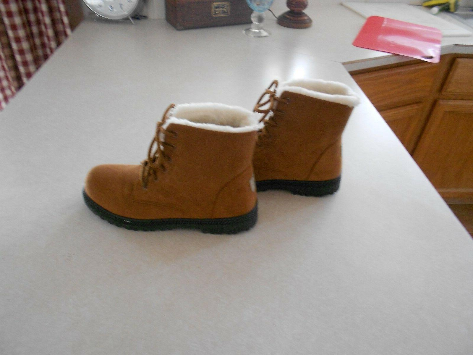 Tan, Snow Type Boots, Boots, Ankle, Up