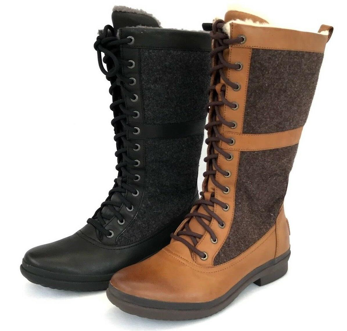 e3869131c4b Ugg Elvia Women's Lace up Waterproof Leather and Wool Lining Rubber Sole  Boots