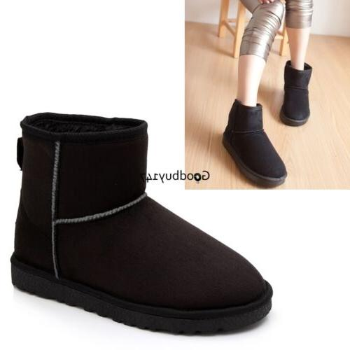 Unisex Winter Womens Fur Mid Ankle Calf Warm Snow Fashion