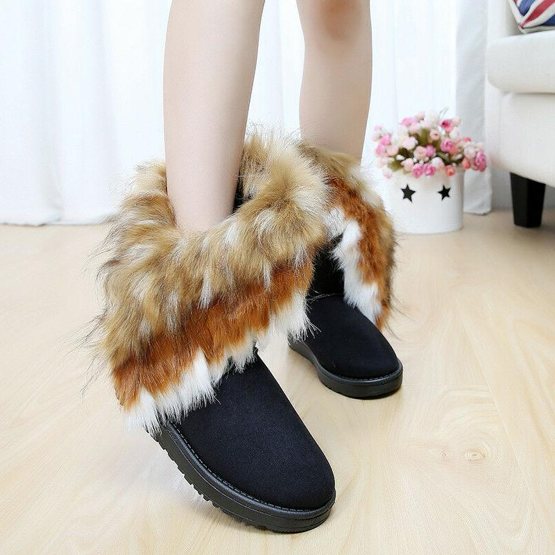 US Warm Suede Fox Fur Short Snow Platform