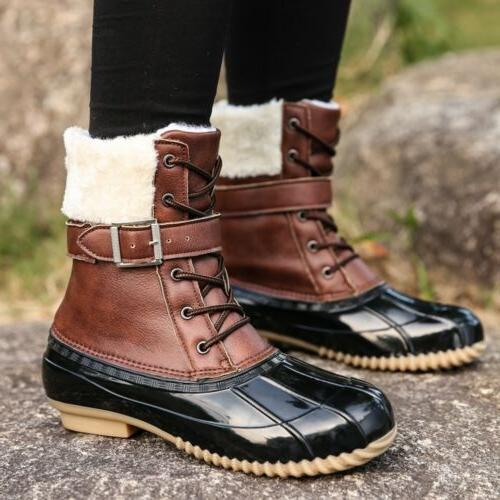 US Womens Waterproof Boots Lace Outdoor Hiking Snow Shoes