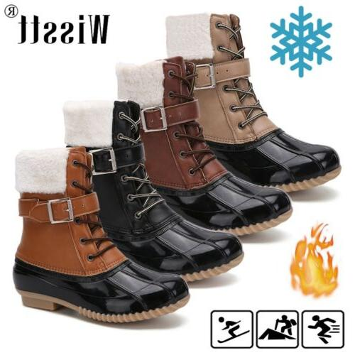 us womens waterproof duck boots lace up