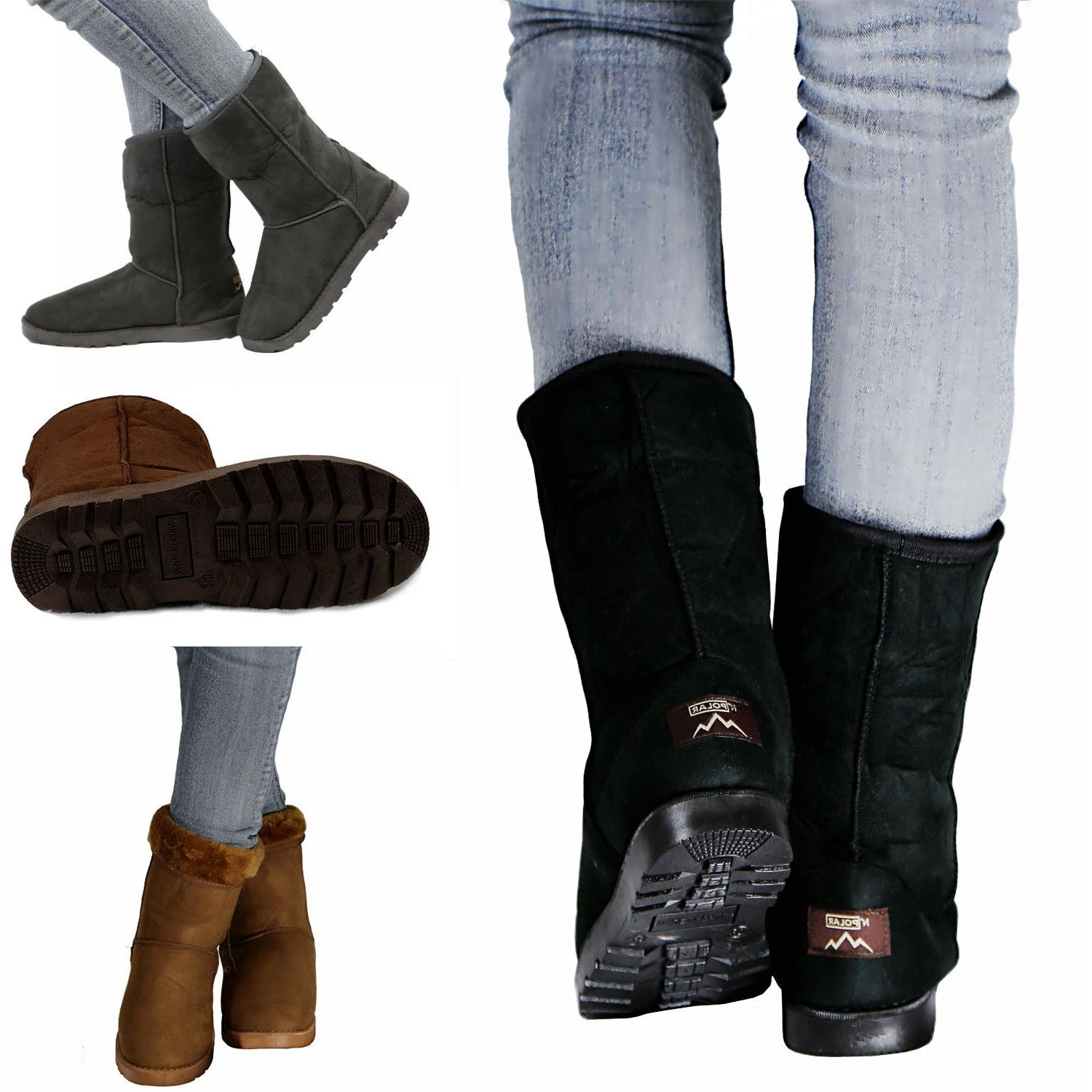 Winter Snow Boots Womens Faux Fur Suede Mid Calf Warm Snow F
