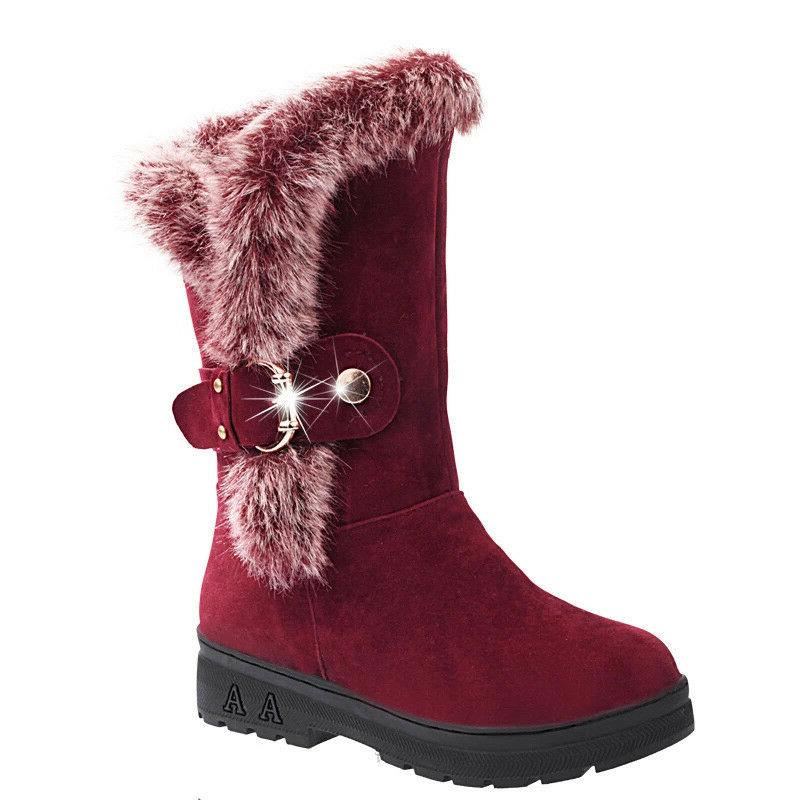 Winter Boots Fashion Buckle Casual Mid Calf Shoes