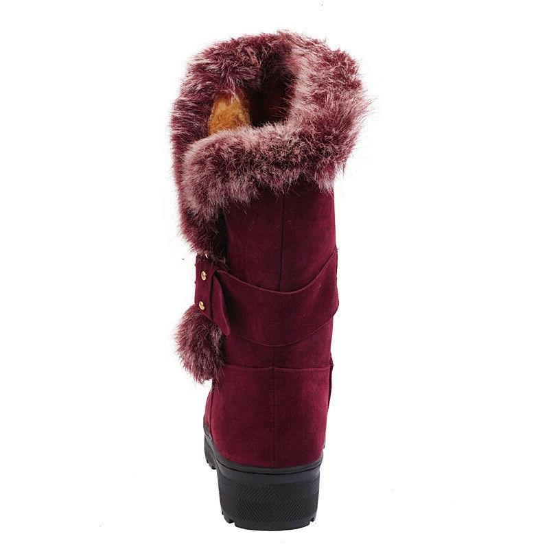 Winter Ladies Boots Fashion Buckle Mid Calf Shoes