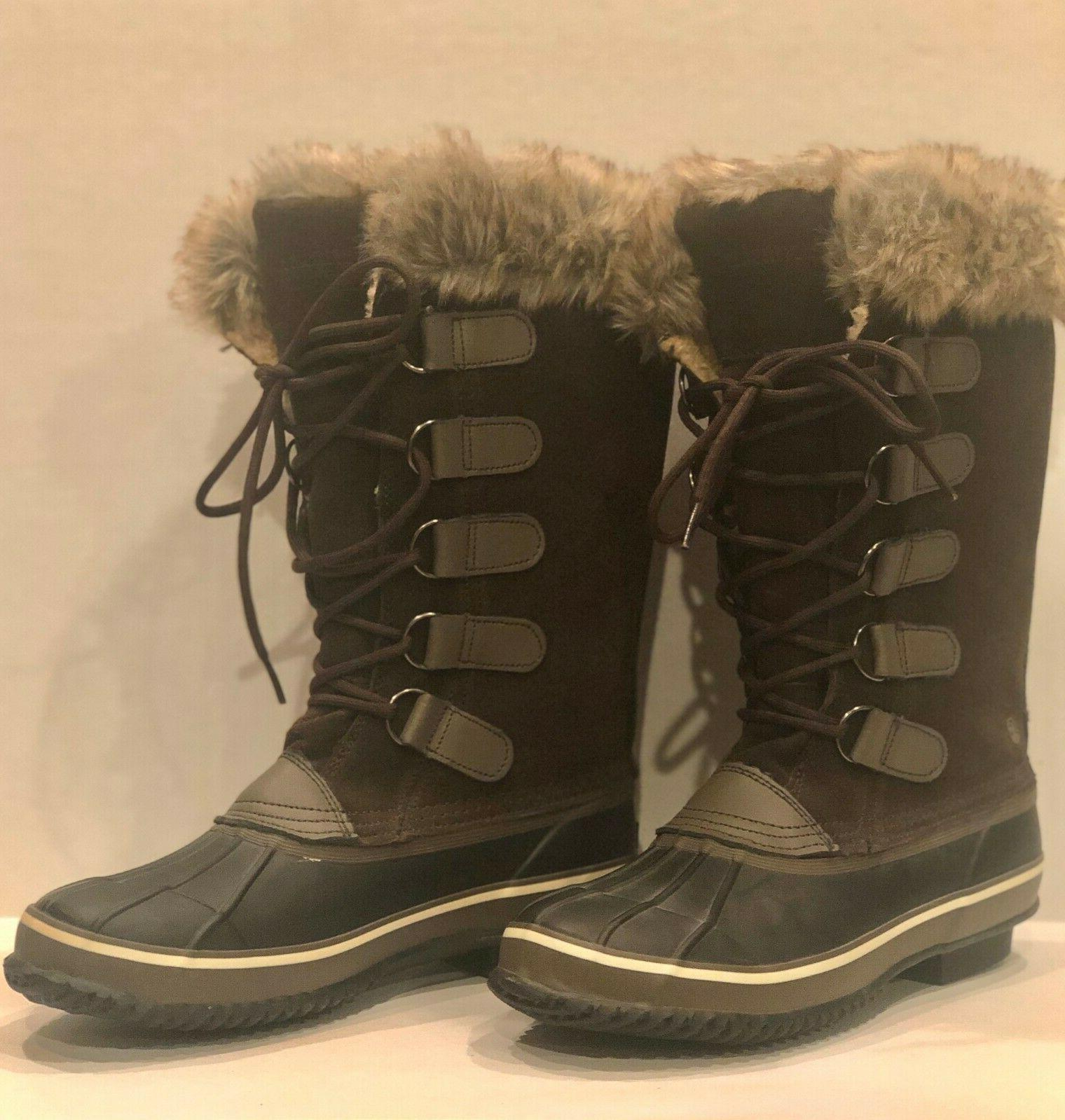 womans winter boot brown suede upper faux