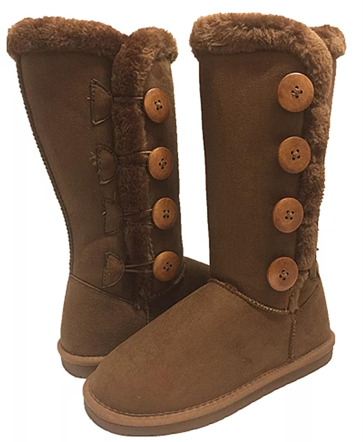 Women's Fur- Lined Mid-calf 4-Buttons Faux Soft Snow Winter